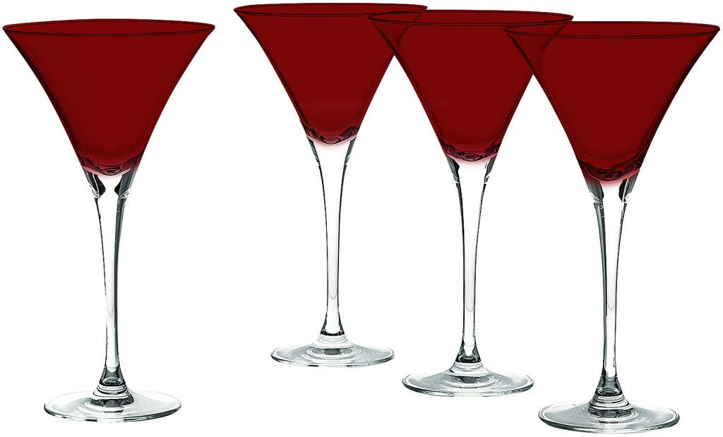 LNX-120 Tuscany Martini Classics Glasses Top Red Color Set of 4 By TableTop King