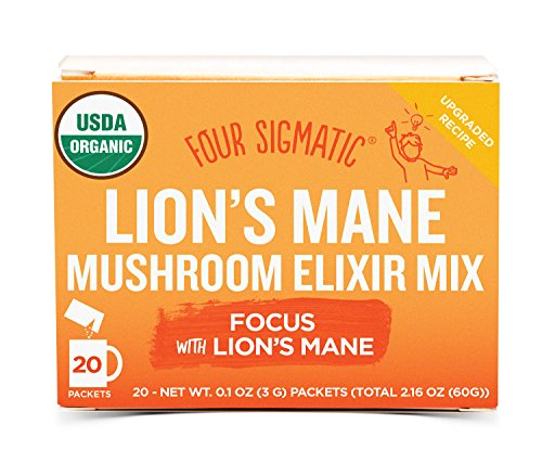Four Sigmatic Lions Mane Mushroom Elixir - USDA Organic Lions Mane Mushroom Powder - Memory, Focus, Creativity - Vegan, Paleo - 20 Count