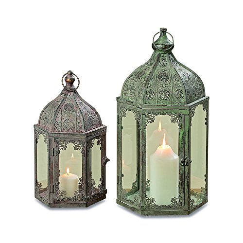 - WHW Whole House Worlds Grand Tour Temple Lanterns, Set of 2, Hurricanes, Distressed Gray, Victorian Blush, Patina, for LED or Wax Candles, Iron, 21 3/4 and 15 3/4 Inches Tall