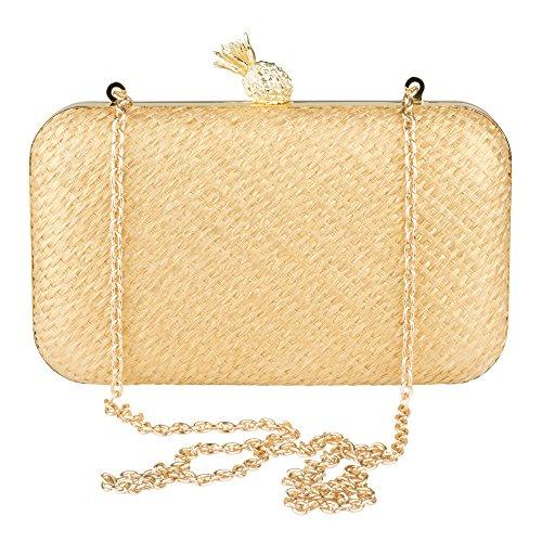 La Raffia Handbag Evening Gold Gold Minaudiere Regale Purse Pineapple Clutch Zqx1wrZY5U