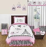 Pink, Black and White Stripe Paris Fabric