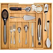 Bamboo Expandable Drawer Organizer, Premium Cutlery and Utensil Tray, 100% Pure Bamboo, Adjustable Kitchen Drawer Divider