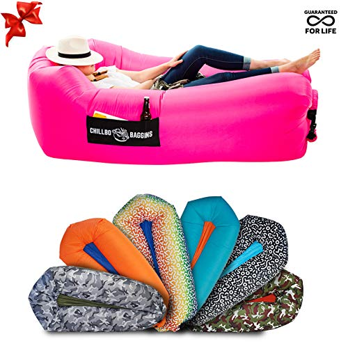 Person Inflatable Pool - CHILLBO SHWAGGINS Baggins Best Inflatable Lounger Hammock Air Sofa and Pool Float Ships Fast! IDEAL OUTDOOR GIFT Air Lounger for Indoor or Outdoor Use or Inflatable Chair for Camping Picnics Festivals