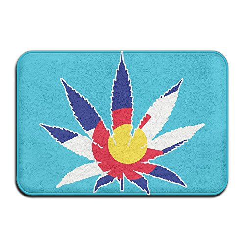 Colorado State Flag Pot Leaf Cushy Pet Food Mat ,Antiskid Bath Rugs For Outings