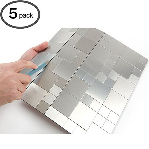 Peel and Stick Tile Metal Backsplash for Kitchen, Wall Tiles Aluminum Surface : Metal-304 ( Pack of 5 )