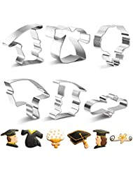 SveBake Graduation Cookie Cutter Set -Mini 6 Pieces Rust-proof Stainless Steel Biscuit Cutters with Shapes of Graduation Cap, Gown,Diploma,Bouquet