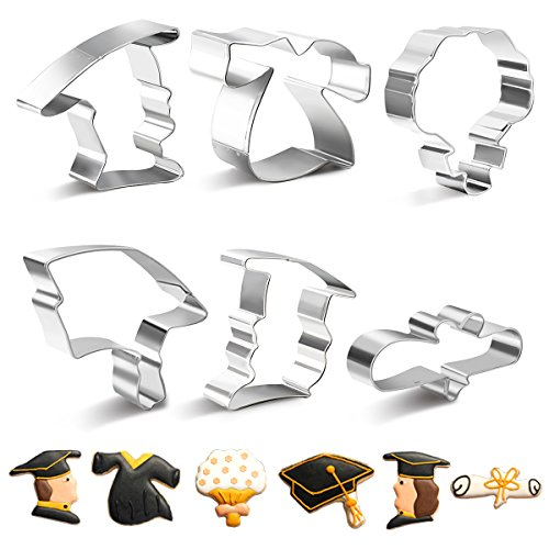 ookie Cutter Set -Mini 6 Pieces Rust-proof Stainless Steel Biscuit Cutters with Shapes of Graduation Cap, Gown, Diploma, Bouquet ()