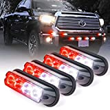 Xprite White & Red 4 LED 4 Watt Emergency Vehicle Waterproof Surface Mount Deck Dash Grille Strobe Light Warning Police Light Head with Clear Lens - 4 Pack