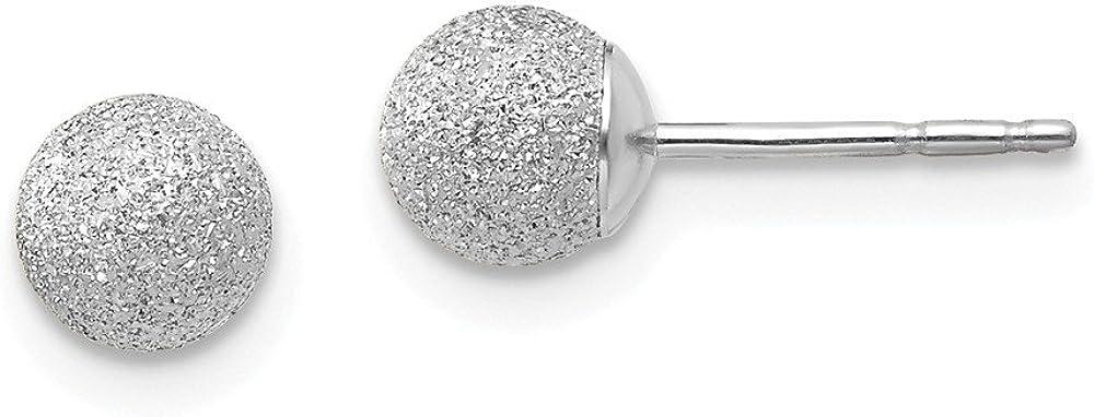 14K White Gold Laser Cut 5M Ball Post Studs Earrings 5mm