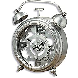 The Exposed Gears Vintage Style Alarm Clock, 1 Ft 6 Tall, Glass Case, Clock Work Wheels, Cogs, Analog, Quartz Movement, Gray lron Case, 1 AA Battery Required, Decorative Bells, By Whole House Worlds