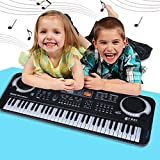Kids Piano 61-Key Multi-Function Portable Electronic Digital Piano with Microphone Organ Musical Keyboard Piano Educational Toy for Children Toddlers Christmas Gift