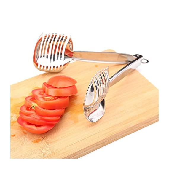 Best Utensils Tomato Slicer Lemon Cutter Multipurpose Handheld Round Fruit Tongs Stainless Steel Onion Holder Easy Slicing Kiwi Fruits & Vegetable Tools Kitchen Cutting Aid Gadgets Tool 2 GERMANY DESIGN: Unique germany design makes slicing fruits and vegetables more quickly and easily MULTI-PURPOSE: Conveniently designed slicing aid, perfect tool for any task in the kitchen, ideal for tomatoes, onions, lemon, citrus fruit & more! DURABLE & SAFETY: Made of 100% food grade 18/8 Stainless steel Material, eco-friendly, durable in use. Clamp design, multifunctional, also couble be used as food tongs.
