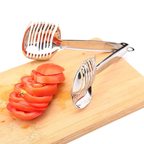 Tomato Slicer Lemon Cutter Stainless Steel Multipurpose Round Fruit Tongs Onion Holder Easy Slicing Kiwi Fruits & Vegetable Tools Kitchen Cutting Helper Clamp, Dishwasher Safe by Spotact (Image #7)