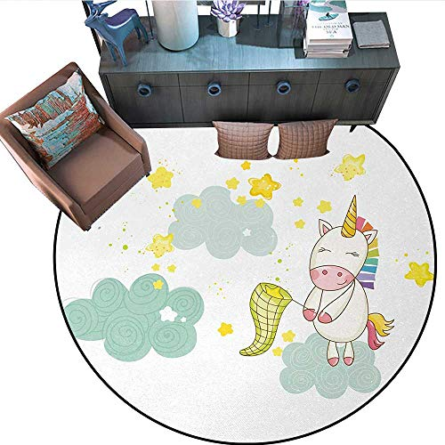 Unicorn Round Soft Area Rugs Baby Mystic Unicorn Girl Sitting on Fluffy Clouds and Hunting Nursery Image Perfect for Any Room, Floor Carpet 67
