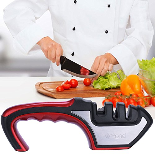 Knife Sharpener - Wifond 3-Stage Home Kitchen Manual Sharpening Kit with Cut-resistant Glove - for Dull Knives Scissors Shears by Wifond (Image #1)
