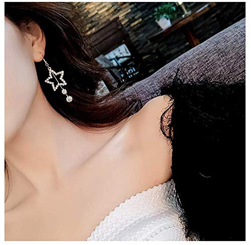 Tassel Shaped (A&C Fashion Rhinestone Love Heart-shaped Tassel Pendant Earrings for Women. Unique Stud Earrings Jewelry for Girl. (Gold))