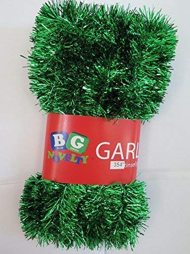 "Blue Green Novelty Green Foil Tinsel Christmas Garland 354"" (29.5 Feet) Indoor/Outdoor Decoration"