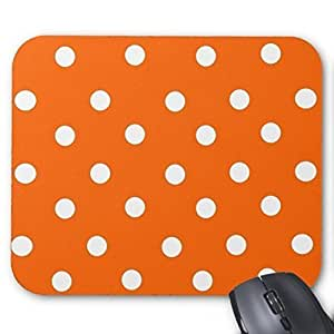 New Top Orange and White Polka Dot Pattern Mouse Pad-Stylish, durable office accessory and gift