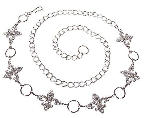 Ladies Rhinestone Fleur De Lis Metal Chain Belt Size: One-size-fits-all Color: Silver