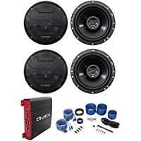 (4) Hifonics ZS653 6.5 600 Watt Car Stereo Speakers+4-Channel Amplifier+Amp Kit