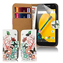 32nd® Design book wallet PU leather case cover for Motorola Moto E (2nd Gen, released 2015) + screen protector and cleaning cloth - Colour Butterfly