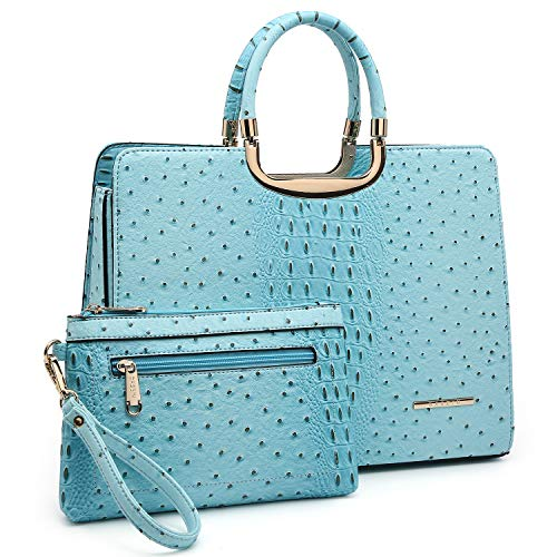 Dasein Women's Purses and Handbags Shoulder Bags Ladies Tote Bags Ostrich Satchels for Women with Wallet