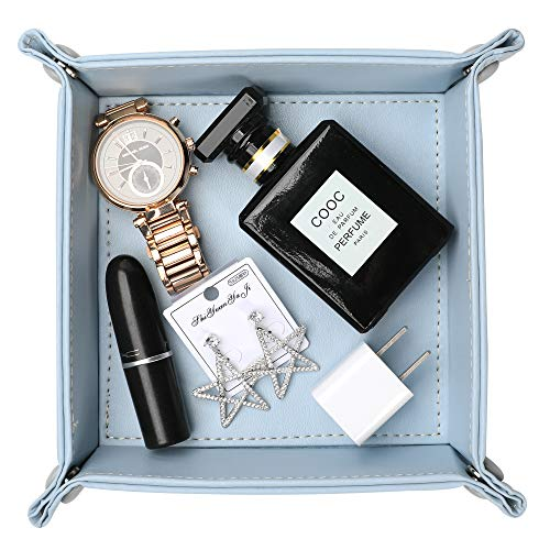 (Leather Valet Tray, Jewelry Tray, Catchall Tray, Desktop Storage Organizer,Bedside Caddy for Men Key Wallet Watch Coin Phone Change,Candy Holder Sundries Tray,Convenient for Travel (Sky Blue 1) )