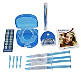 Bright White Smile Professional Home Teeth Whitening Kit 35% Carbamide Peroxide with 4 Pieces Syringe Gel 2 Mouth Trays Blue Teeth Whitening LED light, Bonus Shade Guide