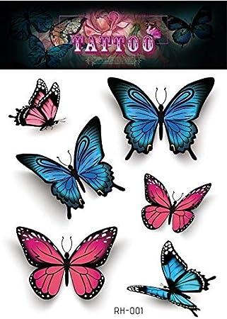 HXMAN 5 Unids Nuevo 3d Colorido Mariposa Tatuaje Pegatinas Mujeres ...