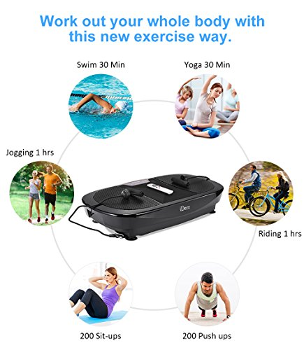 iDeer Vibration Platform Fitness Vibration Plates,Whole Body Vibration Exercise Machine w/Remote Control &Bands,Anti-Slip Fit Massage Workout Vibration Trainer Max User Weight 330lbs (Black09008) by IDEER LIFE (Image #7)