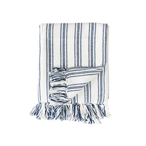 (Summer C&F Ticking Stripe Fringe Navy Blue 60 x 50 Woven Cotton Fabric Throw Blanket)