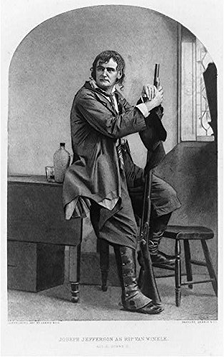 Photo: Joseph Jefferson as Rip Van Winkle,c1887,Performance,Costume,holding rifle