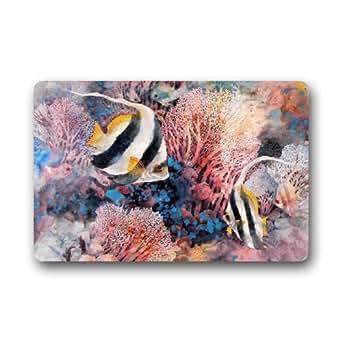 Mariposa Peces Agua Coral chino pintura artística Felpudo cubierta alfombra al aire libre interior piso Mats antideslizante se puede lavar a máquina. Decor–alfombrilla de baño