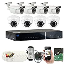 GW Security 8 Channel HDMI DVR with 8 900TVL 2.8-12mm Varifocal Outdoor Security Camera System QR Code Remote Access