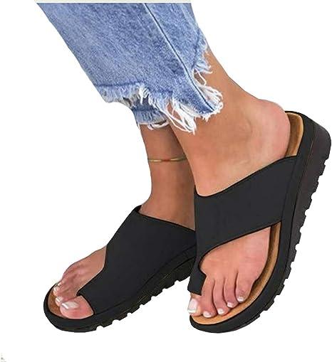DAMAI Plataforma de Mujer Sandalia de cuña Zapatillas de juanete correctas para la corrección del Hueso del Dedo Gordo del pie, Zapatillas de Playa de Verano Zapatillas de Viaje,07,37: Amazon.es: Deportes y