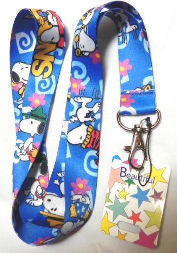 1 X Blue Anime Snoopy Lanyard Keychain Holder, Mp3, Phone....