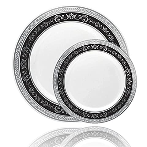 Posh Setting Royal Collection Combo Pack China Look White, Silver/Black Plastic Plates (Includes 8 Packs of 10 Plates, 40 10.25'' Dinner Plates and 40 7.25'' Salad Plates) Fancy Disposable - Silver Wedding Collection