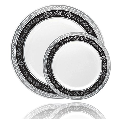 Posh Setting Royal Collection Combo Pack China Look White, Silver/Black Plastic Plates (Includes 8 Packs of 10 Plates, 40 10.25'' Dinner Plates and 40 7.25'' Salad Plates) Fancy Disposable Dinnerware