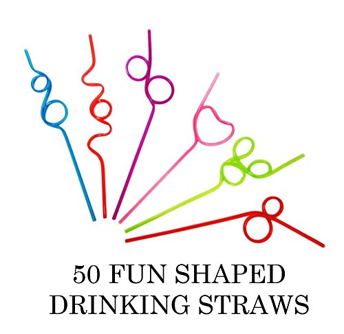 50 Crazy Loop Fun Drinking Straws Mega Value Pack Assorted Colors and Styles Reusable Silly Kids Party Favor Summer Fun Straws.