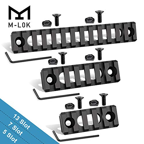 Semedea M-Lok Picatinny Rail, 5-Slot 7-Slot 13-Slot Aluminum Picatinny Rails Section for MLOK Compatible Systems with 6 T-Nuts & 6 Screws & 3 Allen Wrench (Black2, Hollow-Out ()