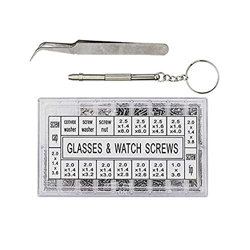 Hosim 1000pcs Eyeglass Repair Kit with Screws Tweezers Screwdriver Tiny Micro Stainless Steel Nut Assortment Kit, Repair Tool for Spectacles Sunglass Watch Clock Cell Phone Jewelry and Remote by Hosim (Image #8)
