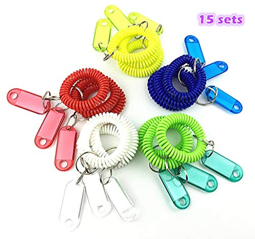 HuanX35 Colorful Spring Spiral Wrist Coil Flexible Spiral Coil Wristband with Key Chain Label 15 set, Wrist Band Key Ring Chain Key Tag for Gym, Pool, ID Badege (15pcs)