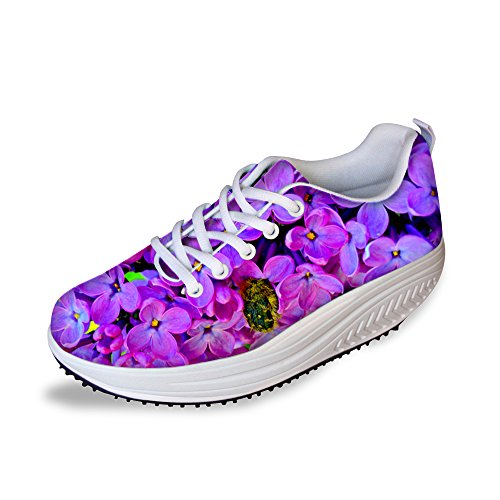 - FOR U DESIGNS Sweet Stylish Vintage Flower Women's Breathable Comfort Platform Sneakers Shoes US 11