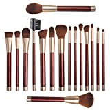 #5: Anjou Makeup Brush Set, 16pcs Premium Cosmetic Brushes for Foundation Blending Blush Concealer Eye Shadow, Cruelty-Free Synthetic Fiber Bristles, PU Leather Roll Clutch Included, Wine Red