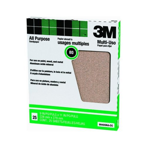 3M 02115 80 Grit D Weight 9'' x 11'' Production Open Coat Sandpaper 50 Sheets per Sleeve
