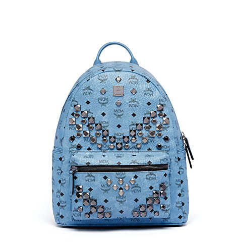 MCM Blue Medium Leather Stark Studded Visetos Backpack Bag by MCM