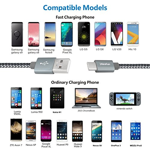 USB C Cable Durable Nylon Brained,[5-Pack, 3Ft 3Ft 6Ft 6Ft 10Ft] Cleefun Fast Charge Type C Charger Cord Charging & Sync For Samsung Galaxy S8 S9 Plus Note 8, Lg V30 V20 G5 G6 Google Pixel Xl(Gray) by Cleefun (Image #7)
