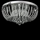 Dst Modern Round Transparent Crystal Ceiling Lighting Chandelier Light D50cm H20cm for Dining Room Living Room Bedroom
