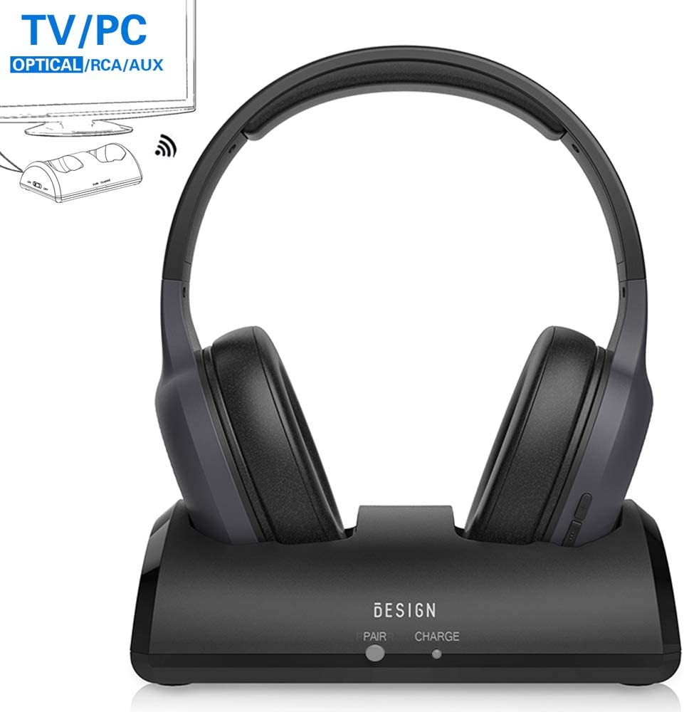 Besign Wireless Headphones for TV Watching with Bluetooth Transmitter Charging Dock, Bluetooth Over Ear Headsets with Rechargeable Battery, 100ft Range No Audio Delay, Digital Optical RCA AUX