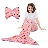 Tirrinia Mermaid Tail Blanket - Super Soft Fannel Fleece Snuggle Sleeping Bag Mermaid Blanket Set Kids Girls Ages 3-12, Bowknot Pillow Included, Catalonia Series, Pink